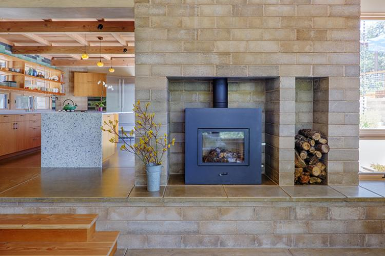 Watershed Straw Bale Residence block fireplace