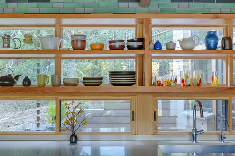 Watershed Straw Bale Residence kitchen shelves